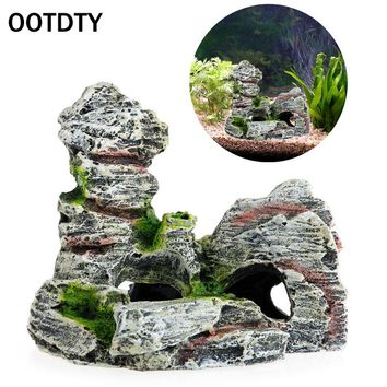 Resin Material Beautiful Mountain View Aquarium Rock Cave Tree Bridge Fish Tank Ornament Decoration Landscap Decorative