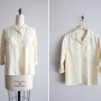 slouchy silk shirt / collared silk blouse / cream by allencompany