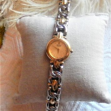 Vintage Seiko Two-Tone Gold & Silver Gold Face Ladies Bracelet Style Wrist Watch