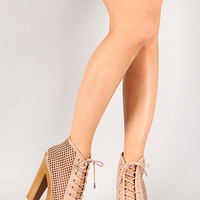 Dollhouse Component Perforated Lace Up Platform Bootie