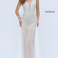 Long Beaded Ivory Open Back Sherri Hill Prom Dress