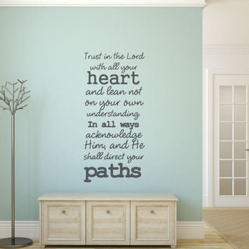 Scripture Wall Decal - Scripture Wall Art - Trust in the Lord - Trust in the Lord with all your heart - Christian Wall Decal - Wall Decal