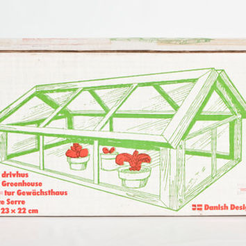 NIB- Vintage Danish Design Mini Greenhouse Kit, DIY Wood Miniature Indoor Glass House Terrarium for Seedlings, New Condition
