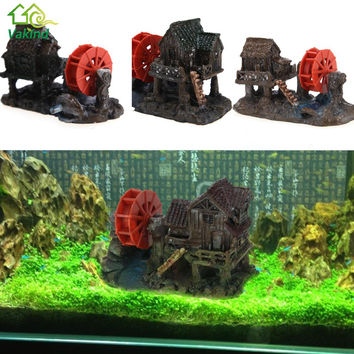 Fish & Aquatic Pet Supplies Resin Windmill House Towers Fish Tank Ornament Cave Aquarium Decoration