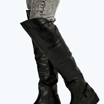Bella Knee High Buckle Trim Boot