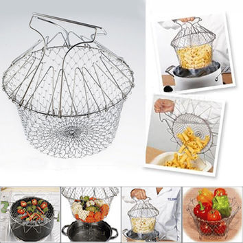 Stainless Steel Fry Strainer Steam Rinse Strain Chef Basket Net for Cooking Tool Colander