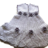 Special Birthday Sale Baby girl Crochet Lace Dress Newborn Preemie Reborn doll Handmade White Crochet Dress with Lilac flowers