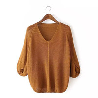 V-Neck Cutout Sleeve Knitted Sweater