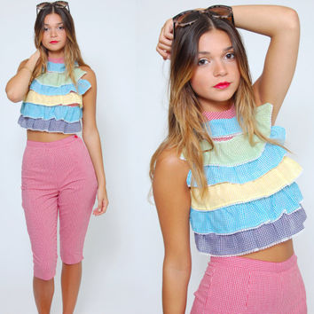 Vintage 70s GINGHAM Two Piece Set RUFFLE Halter Top & Crop Pants Retro Summer Set