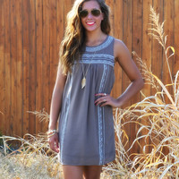 Panaca Valley Mocha Embroidered Shift Dress