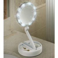 The Brighter Foldaway Vanity Mirror - Hammacher Schlemmer