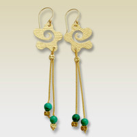 14k gold filled dangle earrings with turquoises by artisanfield