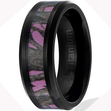 CERTIFIED 8MM Women's Titanium Black Plated with Camo on Pink Background Inlay