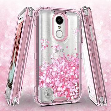 LG Aristo, LG Phoenix 3, LG Fortune, K4 2017, K8 2017, LG Risio Case,Hard Clear Glitter Sparkle Flowing Liquid Heavy Duty Shockproof Three Layer Protective Bling Girls Women Cases for LG Aristo - Pink