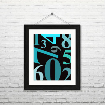 Numbers, 8x10 instant download, printable art, digital print, typography, home decor, mint blue green black, housewarming gift, modern