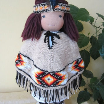 ON SALE - 10% OFF Hand knitted Waldorf doll Native American Ensemble