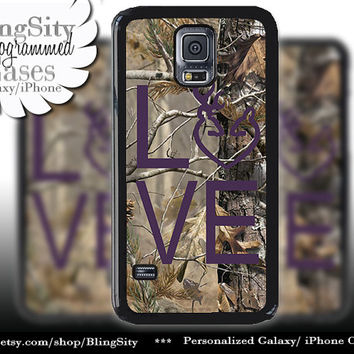 Buck Doe Love Heart Galaxy S4 case S5 Camo Dark Purple Browning RealTree Tree Deer Camo Samsung Galaxy S3 Case Note 2 3 4 Cover Country Girl