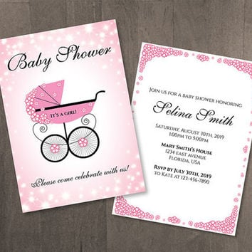 DIY Printable Baby Shower Template | Editable MS Word file | 5 x 7 | Instant Download | Sparkly Pink Sakura Stroller
