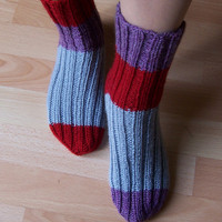 Hand Knitt Socks, Women Wool Socks, Striped  Socks, Odd Socks