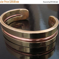 SALE Vintage Mixed Metals Brass & Copper Hand Wrought Cuff Bracelet * Artisan * 58.8 Grams * Jewelry * Jewellery