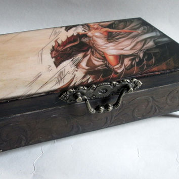 Dragons Decoupage Box Mother of Dragons Distressed Box Keepsake Box Decoupage Box  Jewelry Box Memories Antique Box Storage