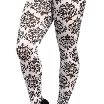 White and Blue Vintage Floral Leggings Design 308