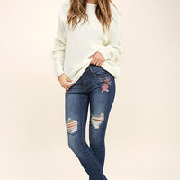 Flower Child Medium Wash Embroidered Distressed Skinny Jeans