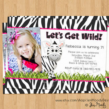 Wild Zebra Birthday Invite, Jungle Zoo Party Invitation with Photo - Printable, Digital, Custom, Zebra Print, Girl, Pink