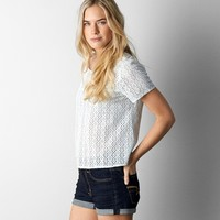 AEO EMBROIDERED EYELET T-SHIRT