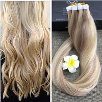 Full Shine Color Balayage Hair Tape in Human Hair Extensions Piano Color 18/613 Two Tone Ombre Blonde Tape in Extensions