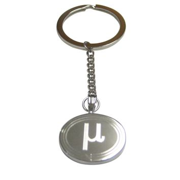 Silver Toned Etched Oval Greek Letter Mu Pendant Keychain