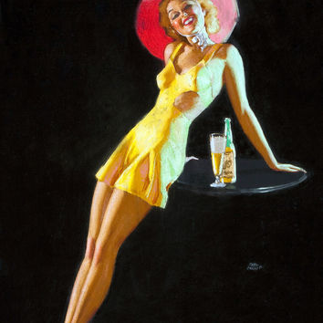 Pin-Up Girl Wall Decal Poster Sticker - Pin-Up with a Cocktail - Blonde Pinup Pin Up