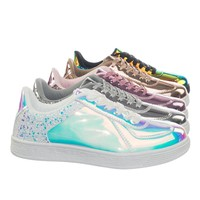 Glitter2 by Forever Glitter Metallic Holographic Irresdescent Lace Up Sneaker w Rubber Sole