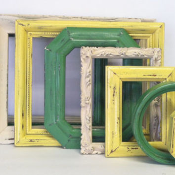 Green Yellow Cream Shabby Chic Picture Frame Set / Shabby Chic Home Decor / Upcycled Distressed Picture Frame Set / Gallery Wall