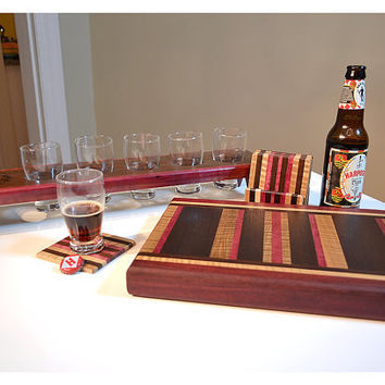 Handmade Medium Wood Cutting Board, Mini Coasters and Mini Brew Sampler - Purpleheart & Flame Maple