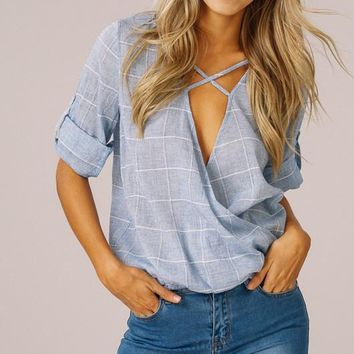 Sky Checkered Blue Top