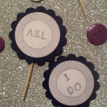 Lavender and navy customizable double sided cupcake toppers personalized for wedding or any event