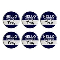 Trey Hello My Name Is Plastic Resin Button Set of 6