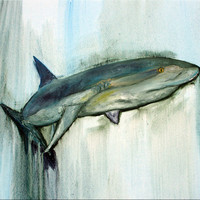 ORIGINAL Large Shark Palette Oil Painting Ready to Hang by HamjArt