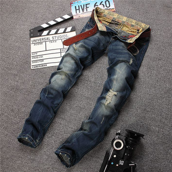 Strong Character Ripped Holes Slim Denim Pants Jeans [6541745539]