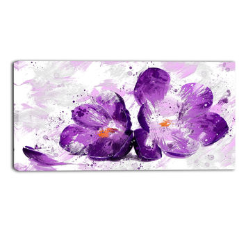 Purple Orchid Floral Canvas Wall Art Print