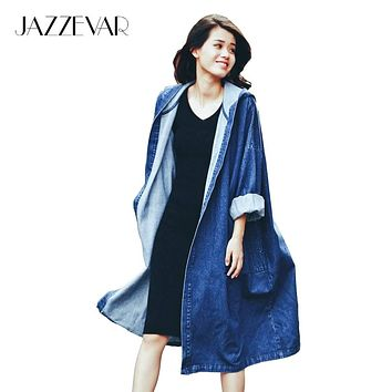 2016 autumn fashion street women's denim casual trench coat hooded Open stitch long raincoat losse clothing good quality