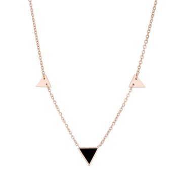 J Goodin Women Fashion Jewelry Trin Rose Gold Stainless Steel Delicate Stationary Triangle Necklace