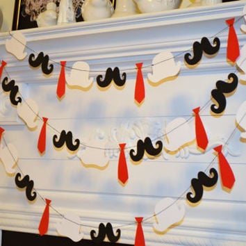 Mustache Tie & Hat Party Garland 10 ft Paper Garland/Photo Prop/Birthday Party Decor Custom Colors Photo booth prop/Any occasion garland