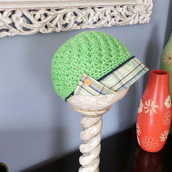 Bright green ladies hat with upcycle fashion fabric brim & buttons; summer newsboy; fashion newsboy; ladies hat; plaid brim