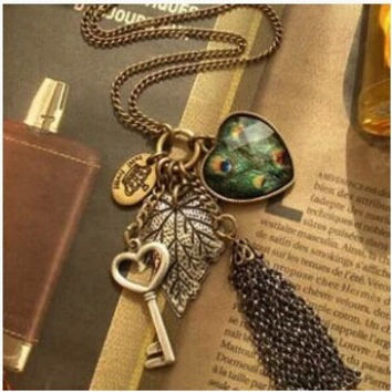 X289 Peacock feather big peach heart key vintage tassel necklace necklaces pendants pendants for jewelry making
