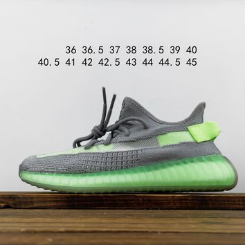 Kuyou Fa1972 Adidas Yeezy Boost 350 V2 Gray And Green Hollow Out Sneakers