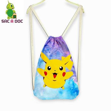 Women Men Galaxy  Pikachu Backpacks Teenagers Boys Girls Universe Space Drawstring Bag School Backpack Travel BagpackKawaii Pokemon go  AT_89_9