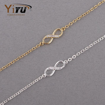 2016 New Fashion Gold Love Infinity Bracelet for Women Personalized Infinity 8 Symbol Chain Bracelets Silver Party Gifts B009