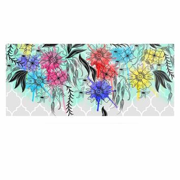"""Famenxt """"Watercolor Spring"""" Gray Floral Luxe Rectangle Panel"""